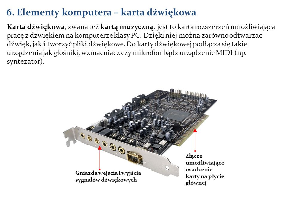 6. Elementy komputera – karta dźwiękowa Złącze umożliwiające osadzenie karty na płycie głównej Gniazda wejścia i wyjścia sygnałów dźwiękowych Karta dź