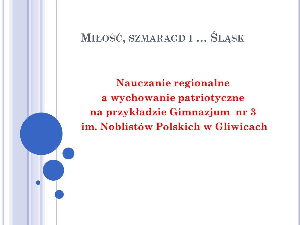 N AUCZANIE REGIONALNE A WYCHOWANIE PATRIOTYCZNE W NOWEJ PODSTAWIE PROGRAMOWEJ DLA GIMNAZJUM PrzedmiotPodstawa programowa Treści nauczania i umiejętności: uczeń Język polski rozpoznaje cechy kultury i języka swojego regionu; ze zrozumieniem posługuje się pojęciami dotyczącymi wartości (…)np.