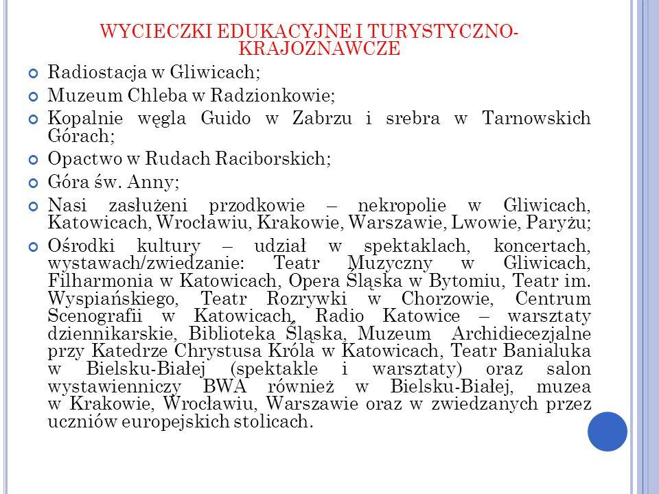 WYCIECZKI EDUKACYJNE I TURYSTYCZNO- KRAJOZNAWCZE Radiostacja w Gliwicach; Muzeum Chleba w Radzionkowie; Kopalnie węgla Guido w Zabrzu i srebra w Tarno