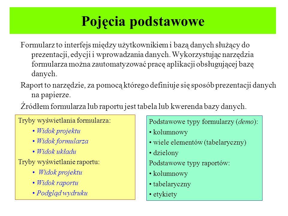 Struktura obiektu formularza i raportu Nagłówek formularza/raportu – pojawia się raz, na początku raportu, pełni rolę ramki z informacją ogólną (np.