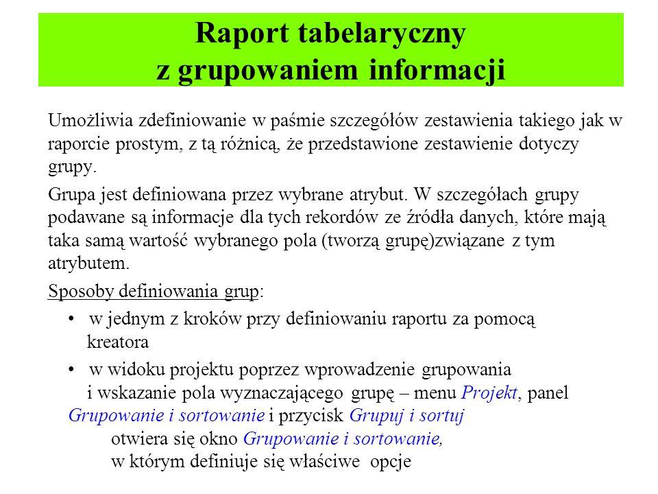 Raport tabelaryczny z grupowaniem informacji Umożliwia zdefiniowanie w paśmie szczegółów zestawienia takiego jak w raporcie prostym, z tą różnicą, że przedstawione zestawienie dotyczy grupy.
