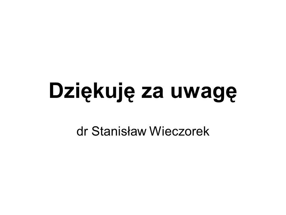 Dziękuję za uwagę dr Stanisław Wieczorek
