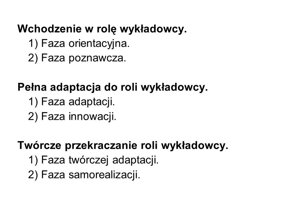 Wchodzenie w rolę wykładowcy.1) Faza orientacyjna.