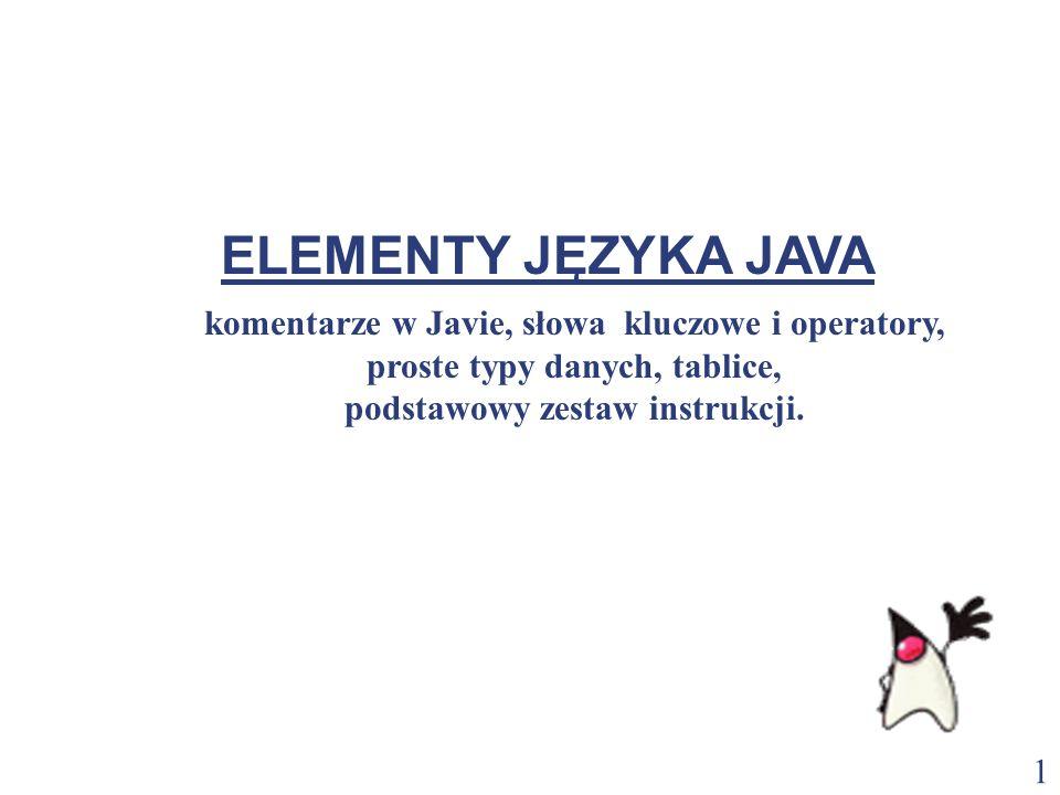 2 Komentarz wierszowy // Program wypisujący tekst powitania Komentarz blokowy /* Program wypisujący tekst powitania */ Komentarz dokumentacyjny /** * Klasa rysująca wykres.