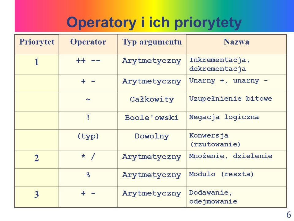 7 PriorytetOperatorTyp argumentuNazwa 3 +Łańcuchowy Konkatenacja 4 > >>>Całkowity Przesunięcie bitowe 5 =Arytmetyczny Operatory relacji instanceofObiektowy Stwierdzenie typu 6 == !=Podstawowy Równe nierówne == !=Obiektowy Równe nierówne 7 &Całkowity Bitowe AND 8 ^Całkowity Bitowe XOR Operatory i ich priorytety