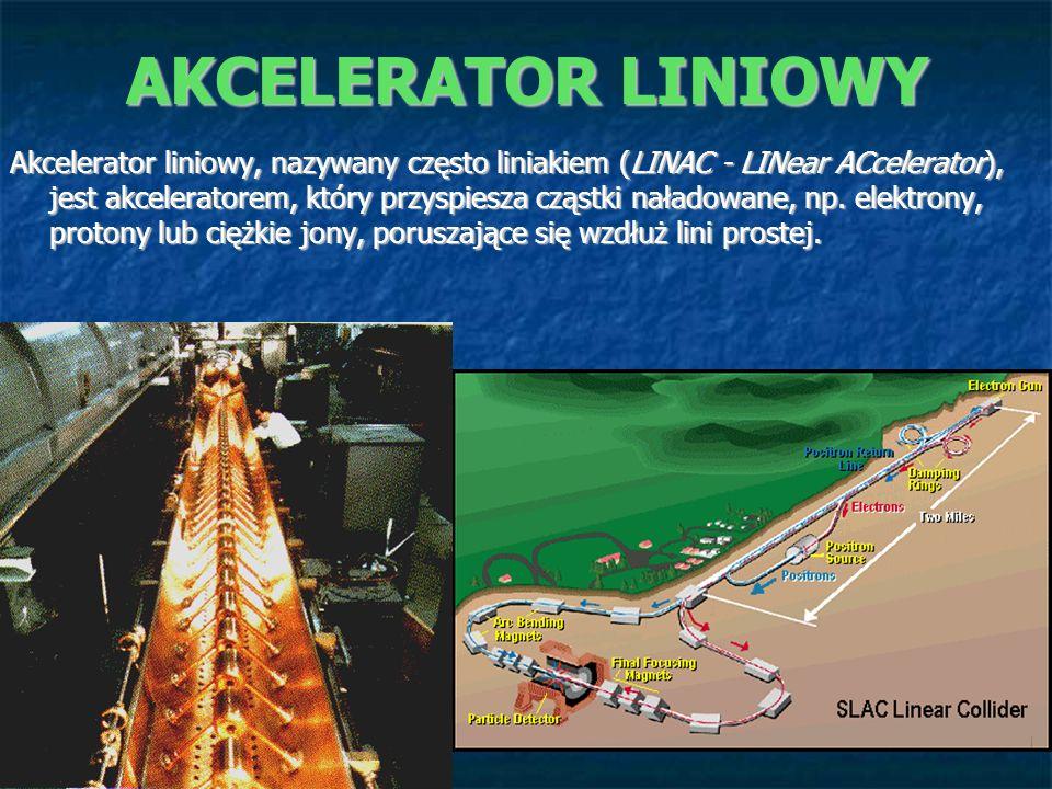 AKCELERATOR LINIOWY Wiązka cząsteczek przebiega przez szereg pustych metalowych cylindrów połączonych na przemian (+,-+,-...) z generatorem prądu zmiennego.