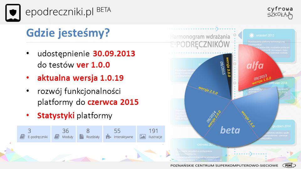 udostępnienie 30.09.2013 do testów ver 1.0.0 aktualna wersja 1.0.19 rozwój funkcjonalności platformy do czerwca 2015 Statystyki platformy Gdzie jesteś