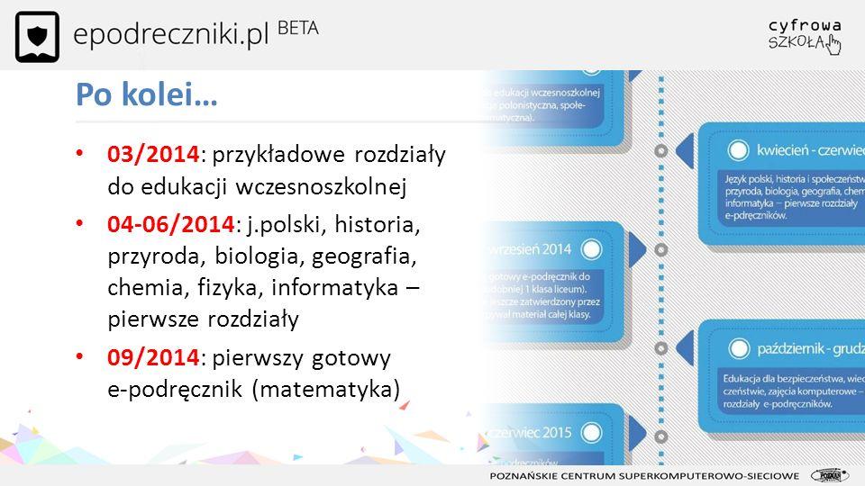 03/2014: przykładowe rozdziały do edukacji wczesnoszkolnej 04-06/2014: j.polski, historia, przyroda, biologia, geografia, chemia, fizyka, informatyka