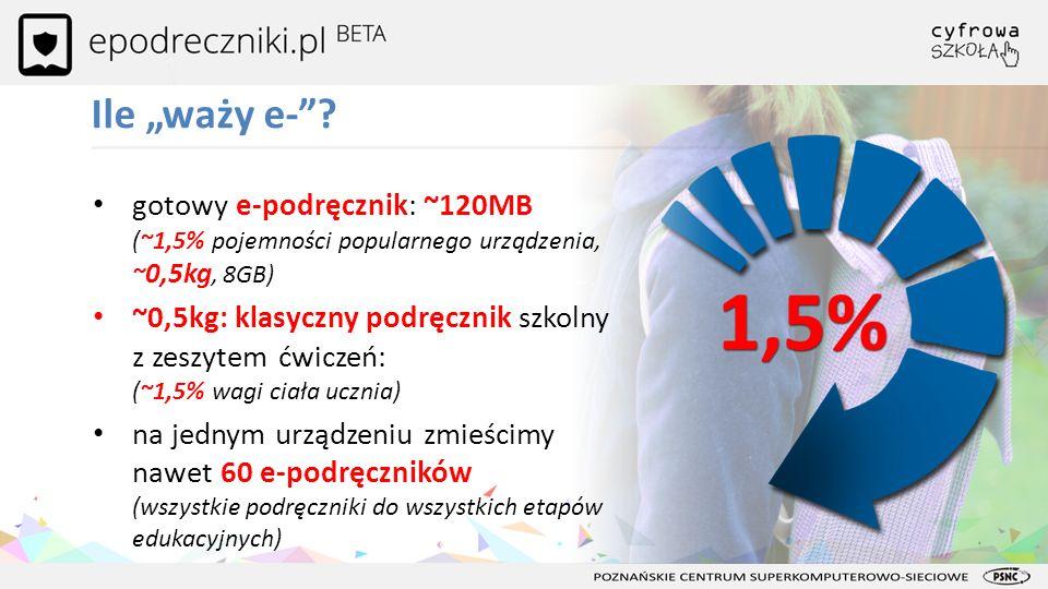 Ile waży e-? gotowy e-podręcznik: ~120MB (~1,5% pojemności popularnego urządzenia, ~ 0,5kg, 8GB) ~0,5kg: klasyczny podręcznik szkolny z zeszytem ćwicz