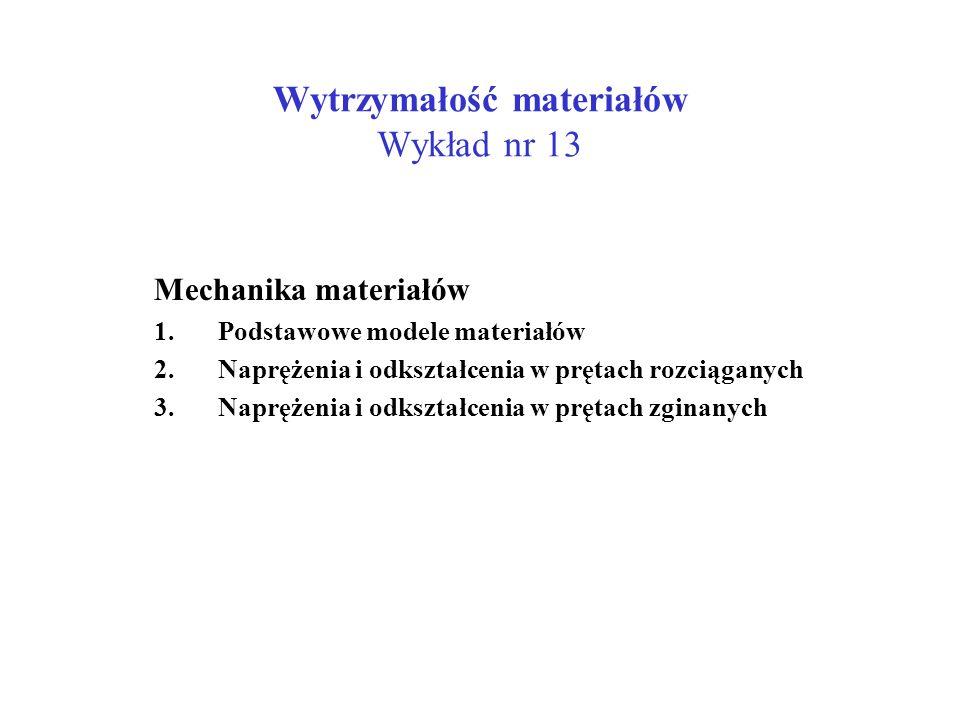 Wytrzymałość materiałów Wykład nr 13 Mechanika materiałów 1.Podstawowe modele materiałów 2.Naprężenia i odkształcenia w prętach rozciąganych 3.Napręże