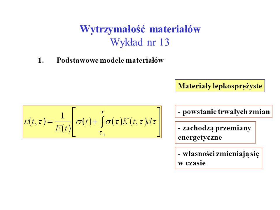 Wytrzymałość materiałów Wykład nr 13 1. Podstawowe modele materiałów Materiały lepkosprężyste - powstanie trwałych zmian - zachodzą przemiany energety