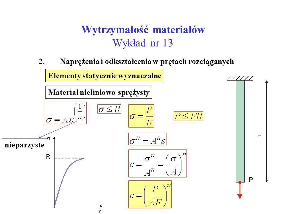 Wytrzymałość materiałów Wykład nr 13 2. Naprężenia i odkształcenia w prętach rozciąganych Elementy statycznie wyznaczalne Materiał nieliniowo-sprężyst