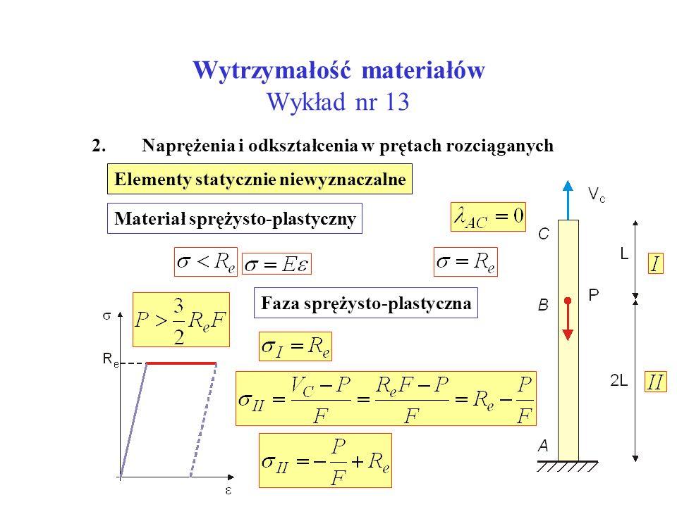 Wytrzymałość materiałów Wykład nr 13 2. Naprężenia i odkształcenia w prętach rozciąganych Elementy statycznie niewyznaczalne Materiał sprężysto-plasty