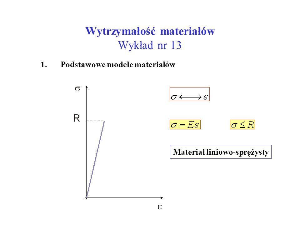 Wytrzymałość materiałów Wykład nr 13 1. Podstawowe modele materiałów Materiał liniowo-sprężysty