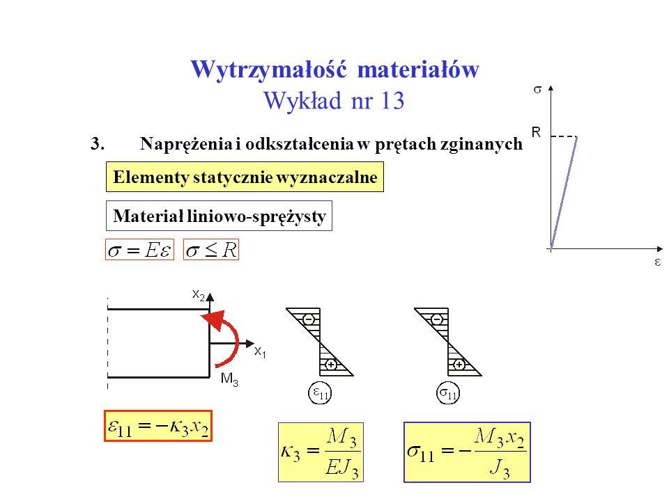 Wytrzymałość materiałów Wykład nr 13 3. Naprężenia i odkształcenia w prętach zginanych Elementy statycznie wyznaczalne Materiał liniowo-sprężysty
