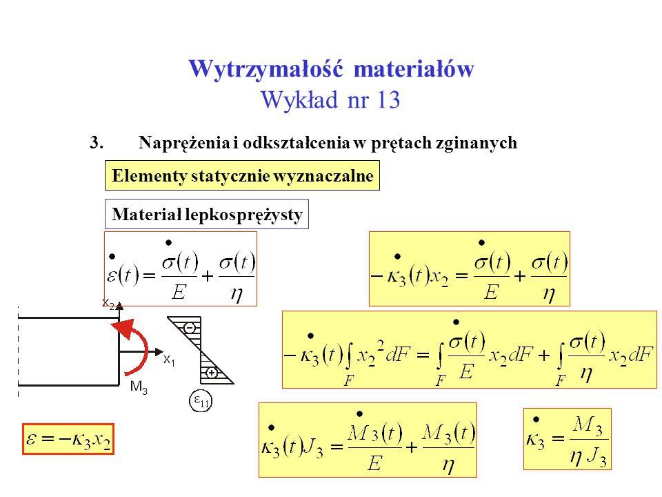 Wytrzymałość materiałów Wykład nr 13 3. Naprężenia i odkształcenia w prętach zginanych Elementy statycznie wyznaczalne Materiał lepkosprężysty