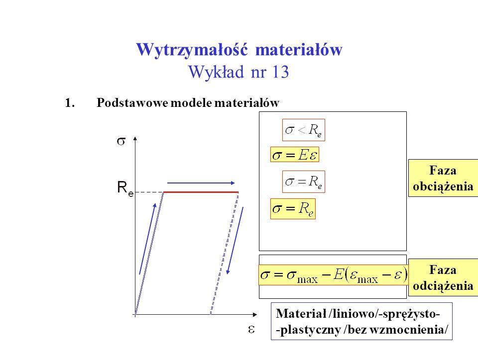 Wytrzymałość materiałów Wykład nr 13 1. Podstawowe modele materiałów Materiał /liniowo/-sprężysto- -plastyczny /bez wzmocnienia/ Faza obciążenia Faza
