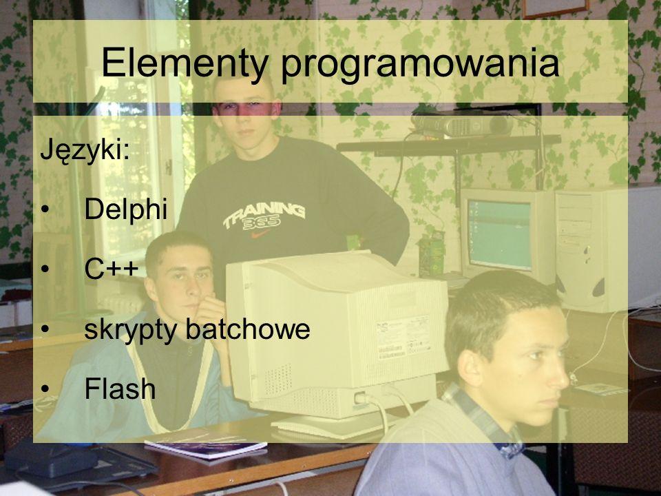 Elementy programowania Języki: Delphi C++ skrypty batchowe Flash
