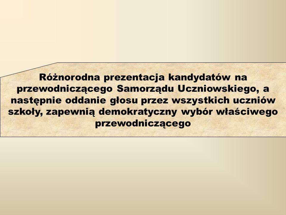 Różnorodna prezentacja kandydatów na przewodniczącego Samorządu Uczniowskiego, a następnie oddanie głosu przez wszystkich uczniów szkoły, zapewnią demokratyczny wybór właściwego przewodniczącego