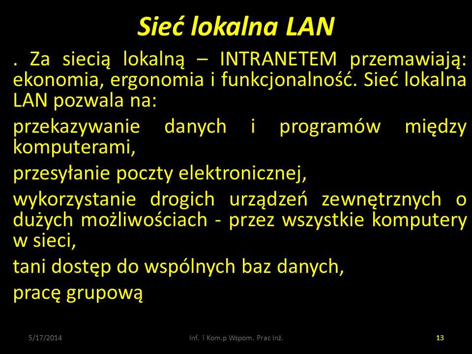 Sieć lokalna LAN 5/17/2014Inf. i Kom.p Wspom. Prac Inż.13. Za siecią lokalną – INTRANETEM przemawiają: ekonomia, ergonomia i funkcjonalność. Sieć loka