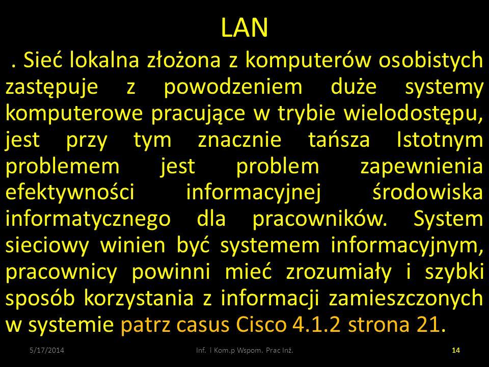 LAN. Sieć lokalna złożona z komputerów osobistych zastępuje z powodzeniem duże systemy komputerowe pracujące w trybie wielodostępu, jest przy tym znac