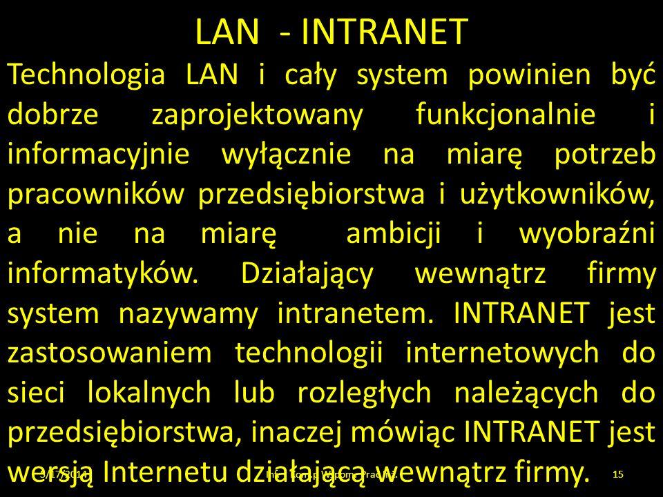 LAN - INTRANET 5/17/2014Inf. i Kom.p Wspom. Prac Inż.15 Technologia LAN i cały system powinien być dobrze zaprojektowany funkcjonalnie i informacyjnie