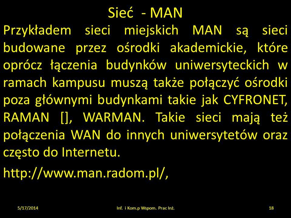 Sieć - MAN Przykładem sieci miejskich MAN są sieci budowane przez ośrodki akademickie, które oprócz łączenia budynków uniwersyteckich w ramach kampusu