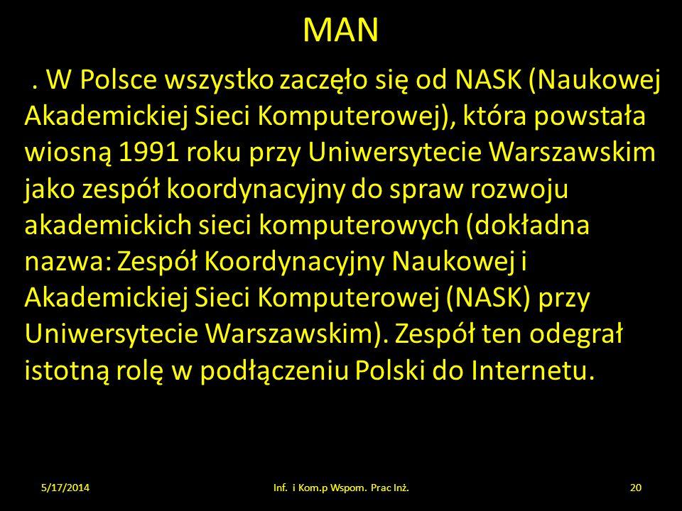 MAN. W Polsce wszystko zaczęło się od NASK (Naukowej Akademickiej Sieci Komputerowej), która powstała wiosną 1991 roku przy Uniwersytecie Warszawskim