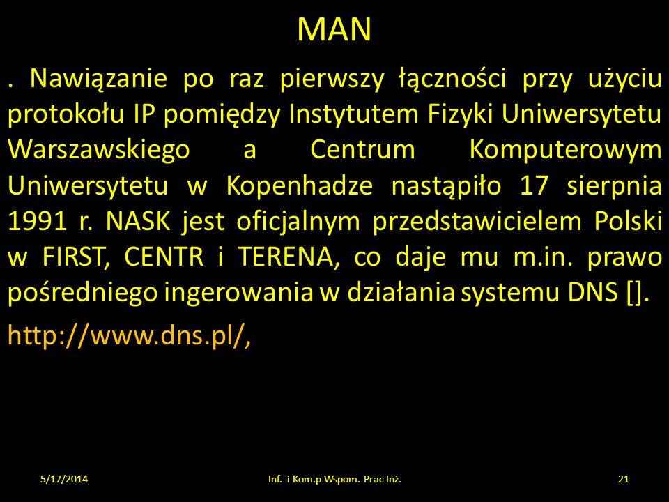 MAN. Nawiązanie po raz pierwszy łączności przy użyciu protokołu IP pomiędzy Instytutem Fizyki Uniwersytetu Warszawskiego a Centrum Komputerowym Uniwer