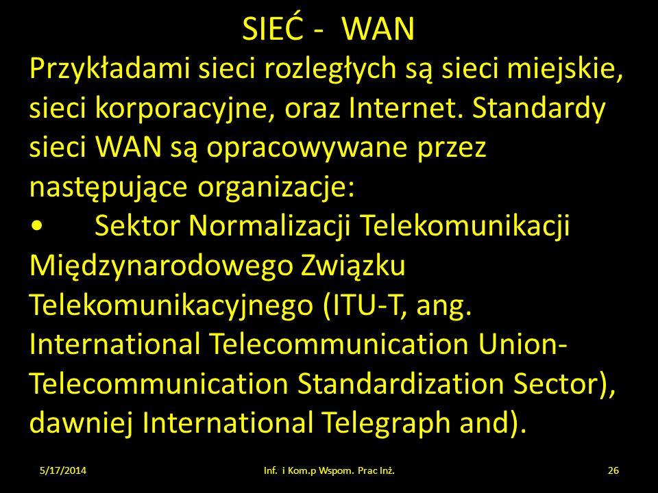 SIEĆ - WAN 5/17/2014Inf. i Kom.p Wspom. Prac Inż.26 Przykładami sieci rozległych są sieci miejskie, sieci korporacyjne, oraz Internet. Standardy sieci