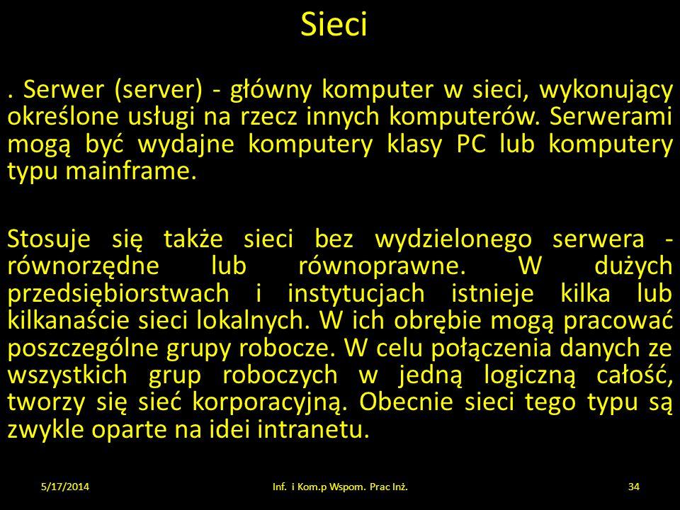 Sieci. Serwer (server) - główny komputer w sieci, wykonujący określone usługi na rzecz innych komputerów. Serwerami mogą być wydajne komputery klasy P