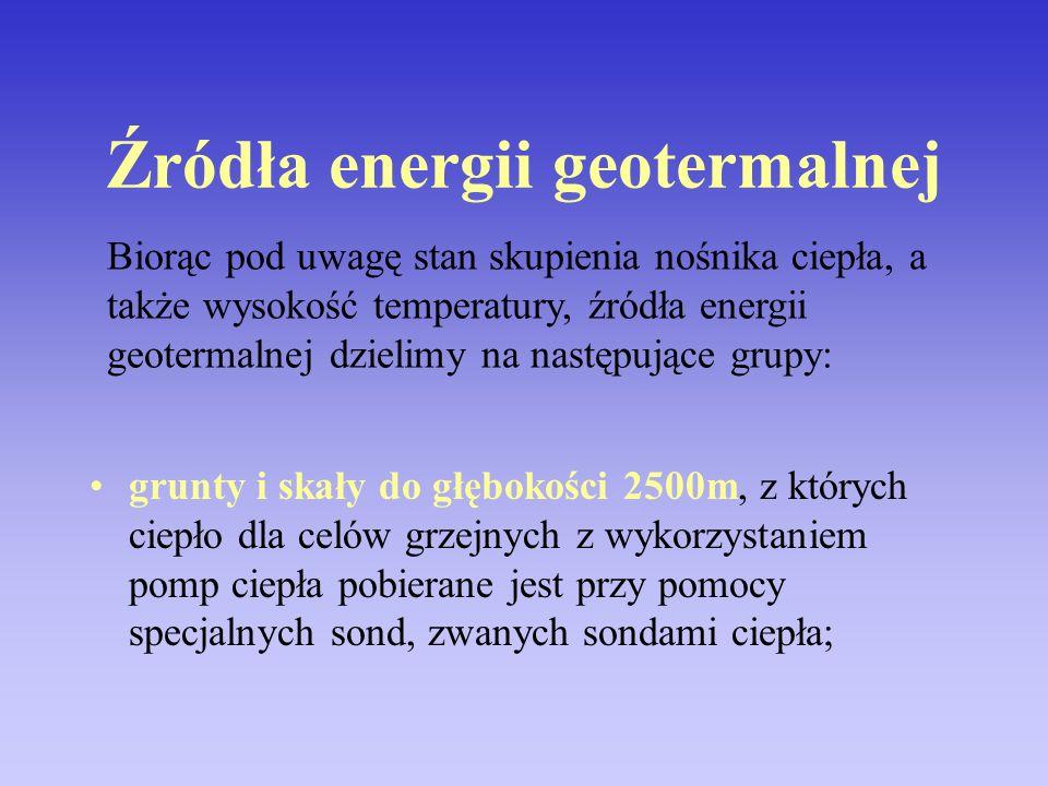 Źródła energii geotermalnej grunty i skały do głębokości 2500m, z których ciepło dla celów grzejnych z wykorzystaniem pomp ciepła pobierane jest przy