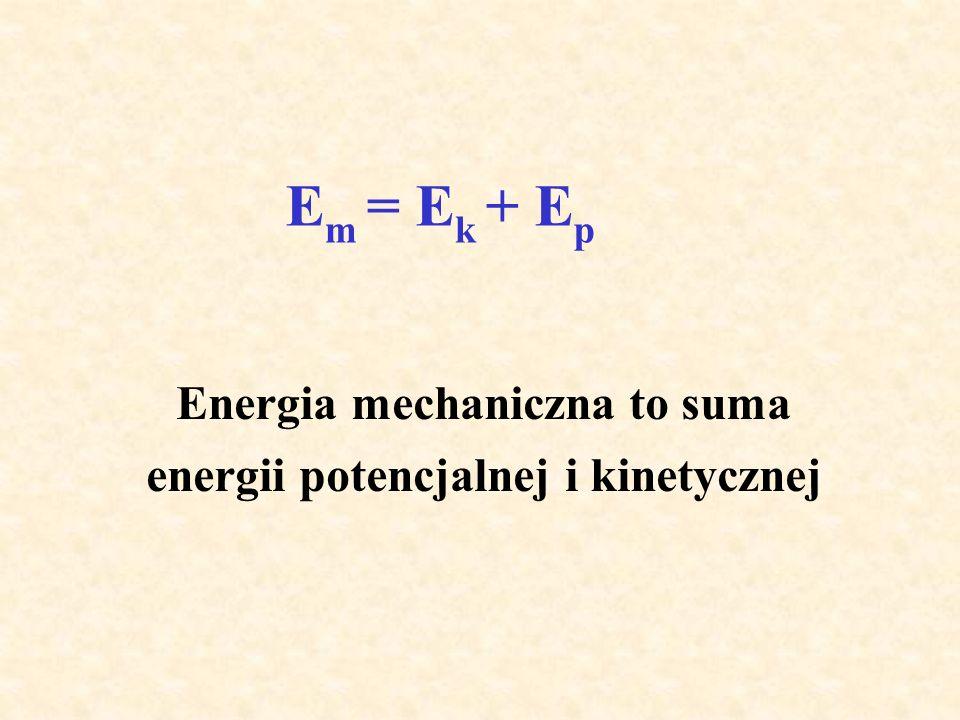E m = E k + E p Energia mechaniczna to suma energii potencjalnej i kinetycznej