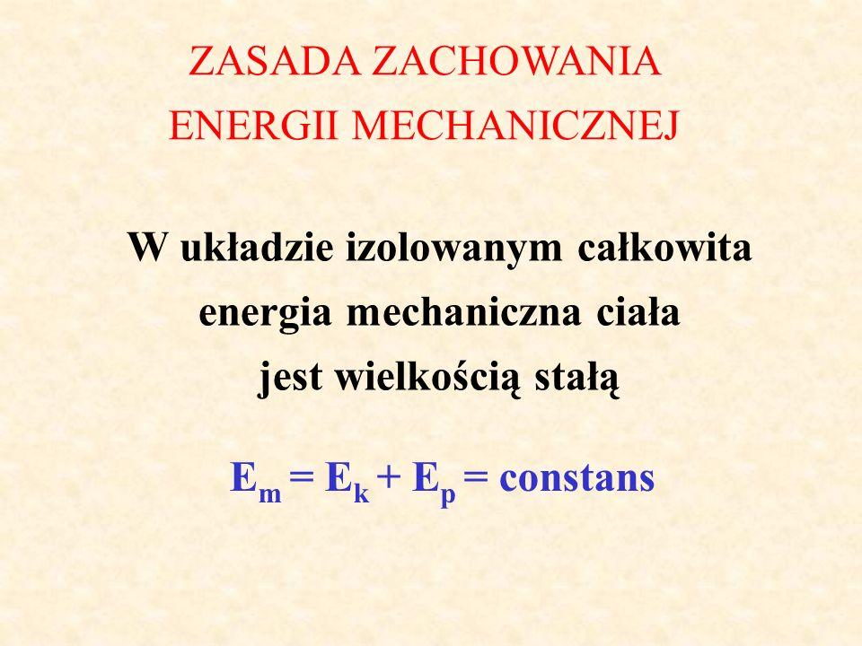 W układzie izolowanym całkowita energia mechaniczna ciała jest wielkością stałą ZASADA ZACHOWANIA ENERGII MECHANICZNEJ E m = E k + E p = constans