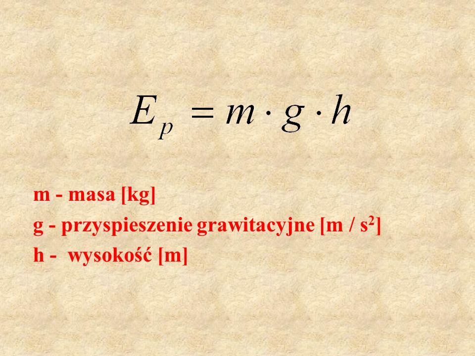 m - masa [kg] g - przyspieszenie grawitacyjne [m / s 2 ] h - wysokość [m]