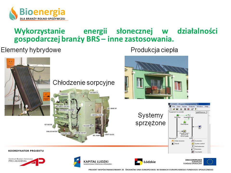 Wykorzystanie energii słonecznej w działalności gospodarczej branży BRS – inne zastosowania. Elementy hybrydowe Chłodzenie sorpcyjne Produkcja ciepła