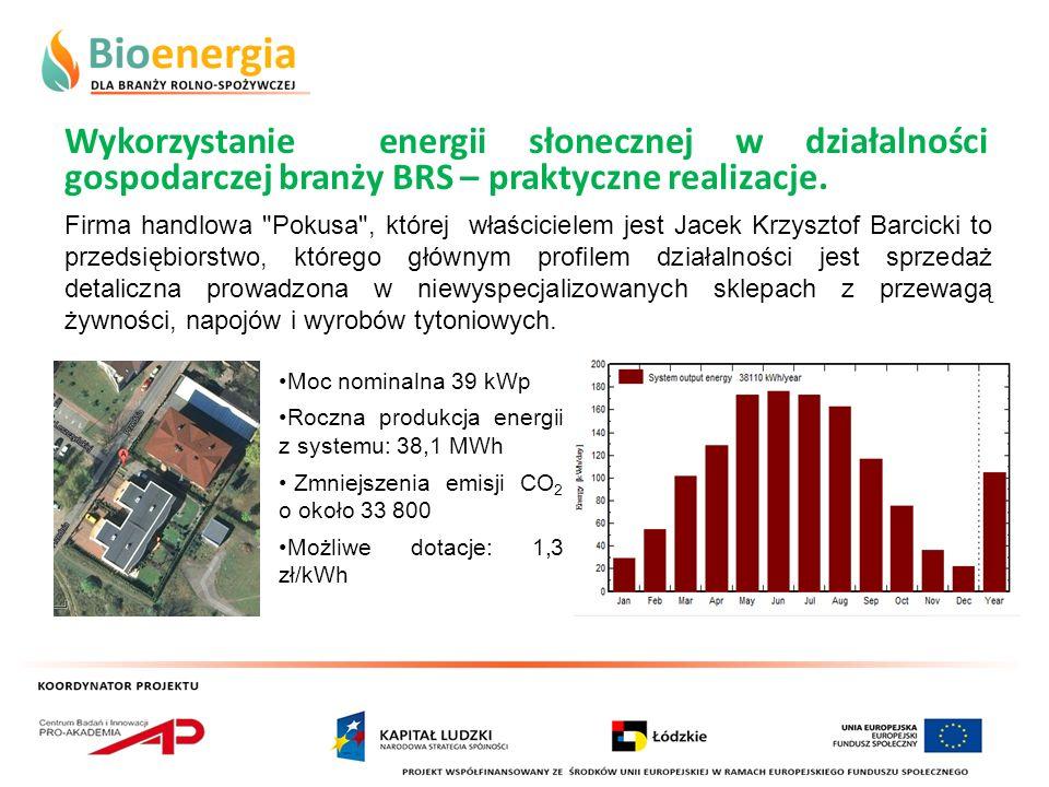 Wykorzystanie energii słonecznej w działalności gospodarczej branży BRS – praktyczne realizacje. Firma handlowa