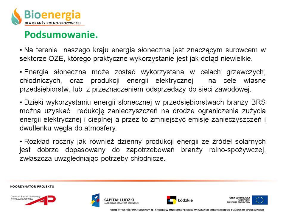 Podsumowanie. Na terenie naszego kraju energia słoneczna jest znaczącym surowcem w sektorze OZE, którego praktyczne wykorzystanie jest jak dotąd niewi