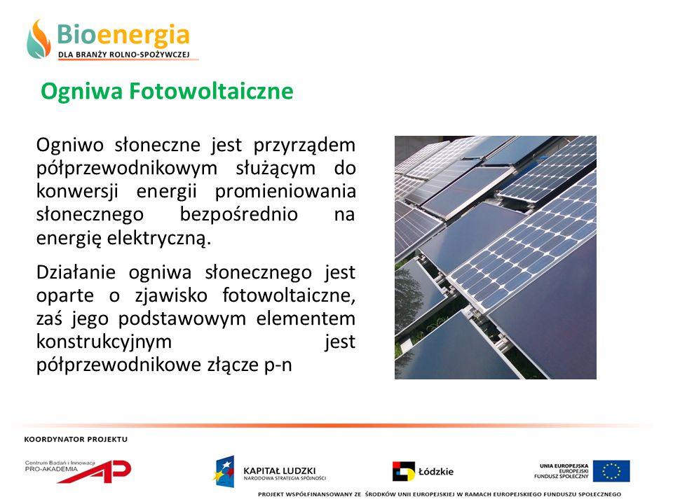 Ogniwa Fotowoltaiczne Ogniwo słoneczne jest przyrządem półprzewodnikowym służącym do konwersji energii promieniowania słonecznego bezpośrednio na ener