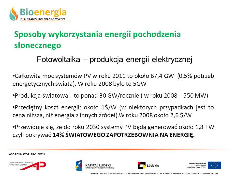 Sposoby wykorzystania energii pochodzenia słonecznego Fotowoltaika – produkcja energii elektrycznej Całkowita moc systemów PV w roku 2011 to około 67,
