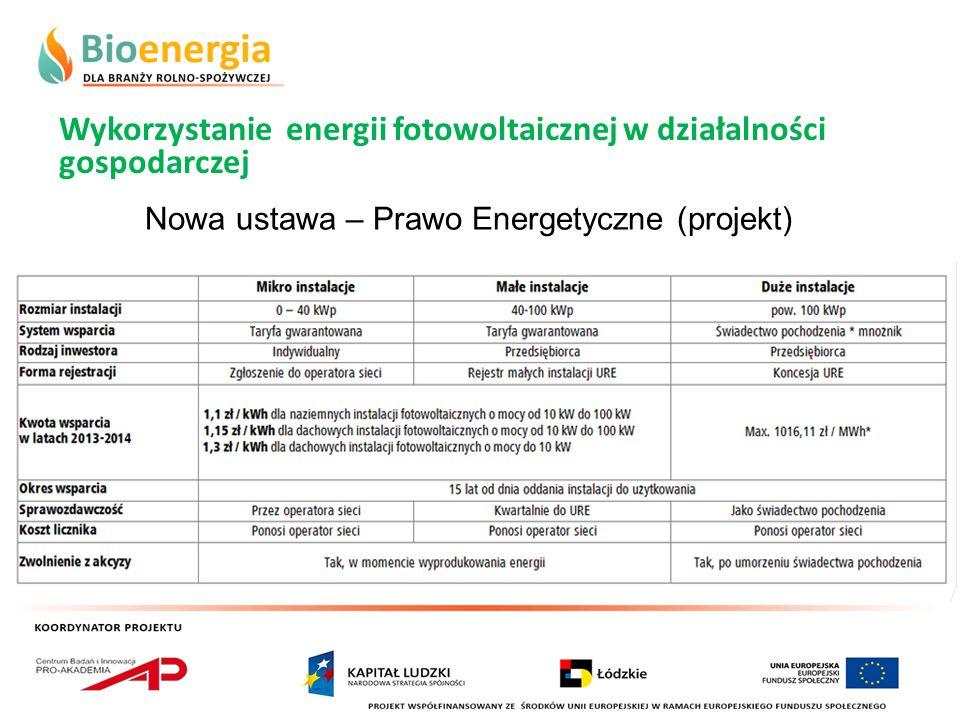 Wykorzystanie energii fotowoltaicznej w działalności gospodarczej Nowa ustawa – Prawo Energetyczne (projekt)