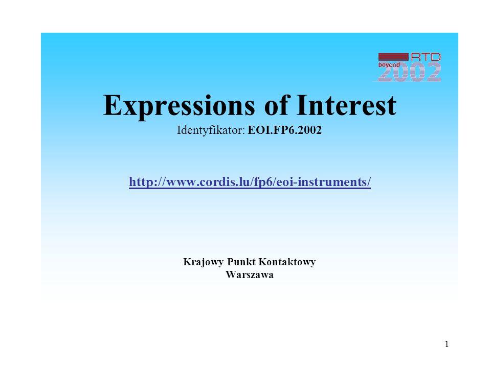 1 Expressions of Interest Identyfikator: EOI.FP6.2002 http://www.cordis.lu/fp6/eoi-instruments/ Krajowy Punkt Kontaktowy Warszawa