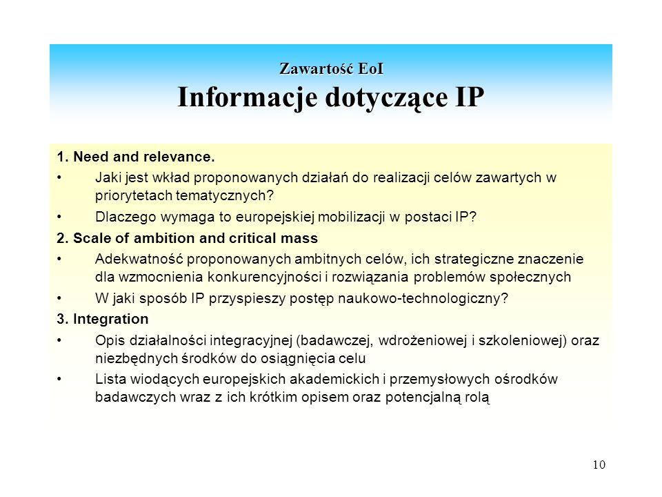 10 Zawartość EoI Informacje dotyczące IP 1. Need and relevance.