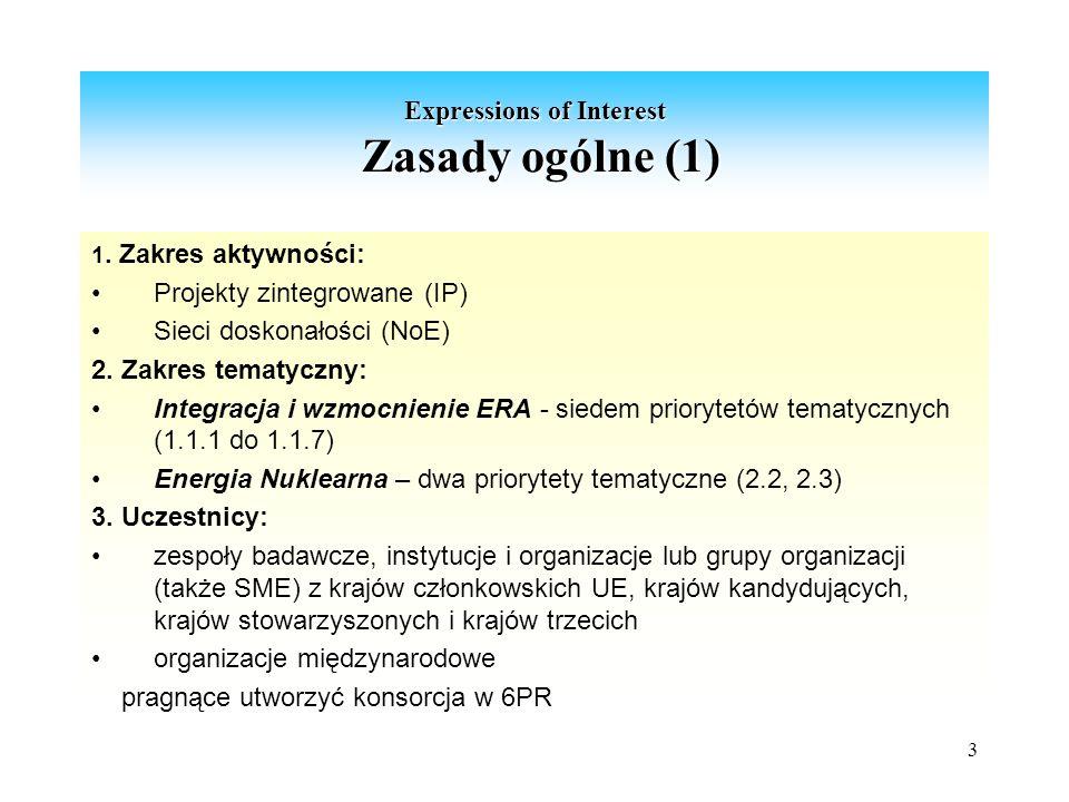 3 Expressions of Interest Zasady ogólne (1) 1.