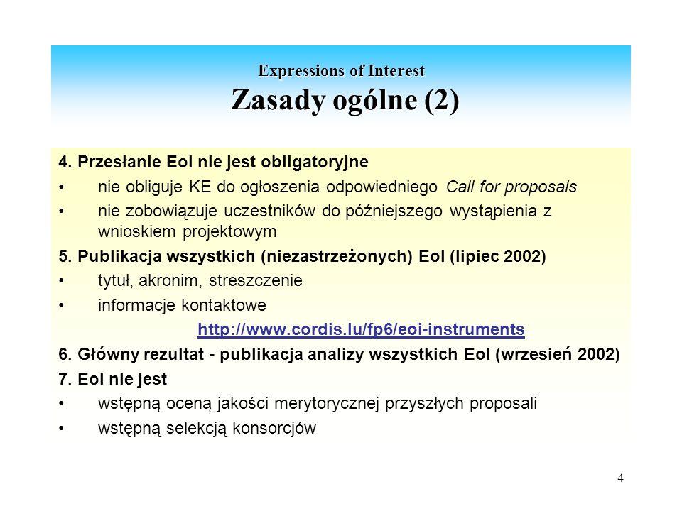 4 Expressions of Interest Zasady ogólne (2) 4.