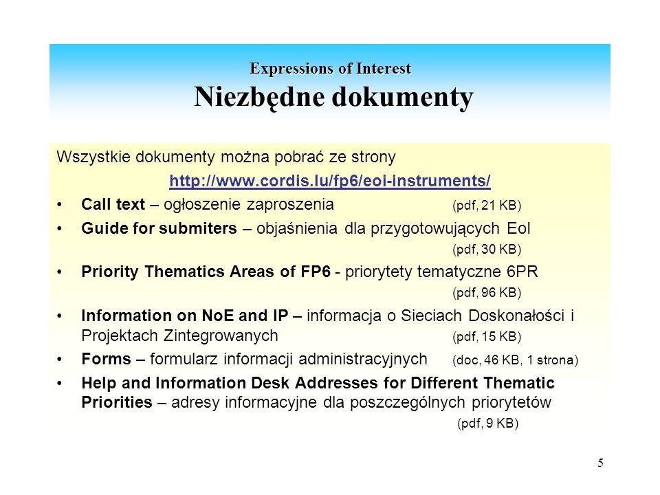 5 Expressions of Interest Niezbędne dokumenty Wszystkie dokumenty można pobrać ze strony http://www.cordis.lu/fp6/eoi-instruments/ Call text – ogłoszenie zaproszenia (pdf, 21 KB) Guide for submiters – objaśnienia dla przygotowujących EoI (pdf, 30 KB) Priority Thematics Areas of FP6 - priorytety tematyczne 6PR (pdf, 96 KB) Information on NoE and IP – informacja o Sieciach Doskonałości i Projektach Zintegrowanych (pdf, 15 KB) Forms – formularz informacji administracyjnych (doc, 46 KB, 1 strona) Help and Information Desk Addresses for Different Thematic Priorities – adresy informacyjne dla poszczególnych priorytetów (pdf, 9 KB)