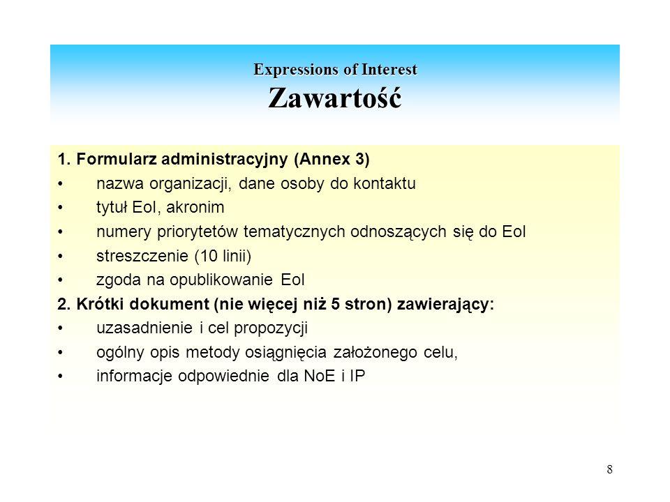 8 Expressions of Interest Zawartość 1.