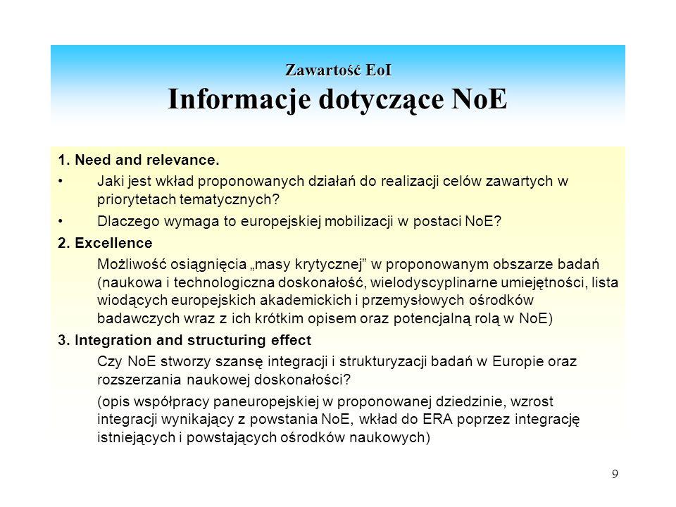 9 Zawartość EoI Informacje dotyczące NoE 1. Need and relevance.