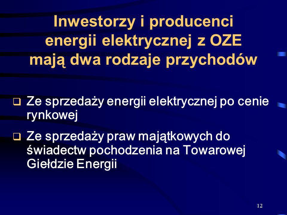 12 Inwestorzy i producenci energii elektrycznej z OZE mają dwa rodzaje przychodów Ze sprzedaży energii elektrycznej po cenie rynkowej Ze sprzedaży pra