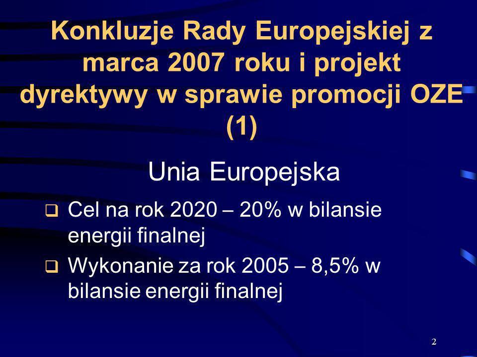 2 Konkluzje Rady Europejskiej z marca 2007 roku i projekt dyrektywy w sprawie promocji OZE (1) Unia Europejska Cel na rok 2020 – 20% w bilansie energi